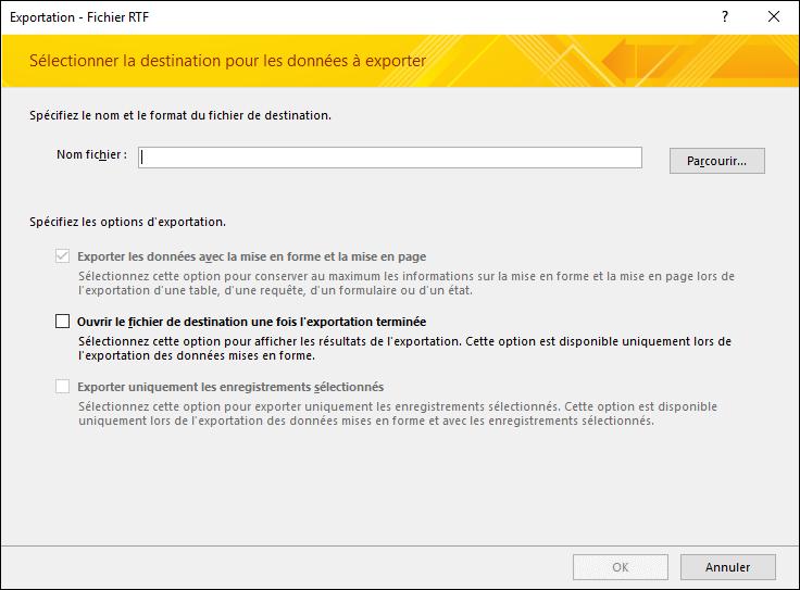 Dans la boîte de dialogue Exporter - Fichier RTF, sélectionnez une destination et des options d'exportation.