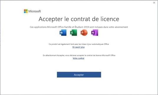 Contrat de licence utilisateur final de Microsoft Office2019.