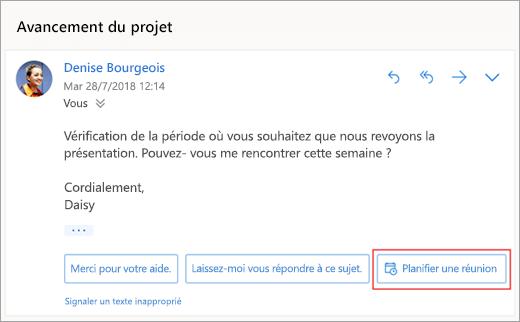 Capture d'écran de la boîte de réponse proposée pour planifier une réunion