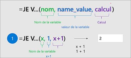 Affiche la fonction LET dans Excel.