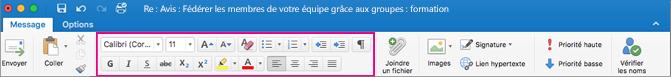 Options de mise en forme sur le ruban d'Outlook pour Mac