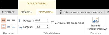 Onglet Disposition des Outils de tableau avec le curseur pointant sur l'option Texte de remplacement