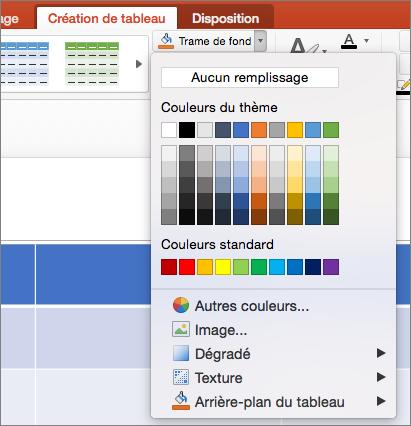 Capture d'écran montre l'onglet Création de Table dans laquelle la flèche déroulante une trame de fond est activée pour afficher les options disponibles, y compris aucun remplissage, couleurs du thème, couleurs Standard, autres couleurs de remplissage, des images, dégradé, Texture et arrière-plan du tableau.