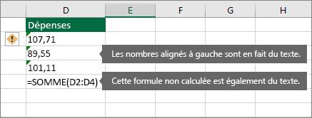 Cellules contenant des nombres stockés en tant que texte avec triangles verts