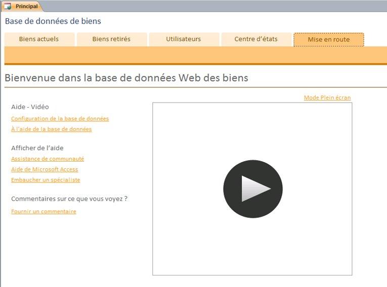 Base de données Web de biens