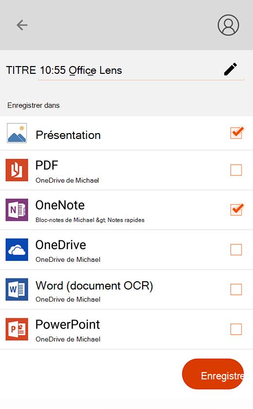 Options d'exportation d'Office Lens pour Android