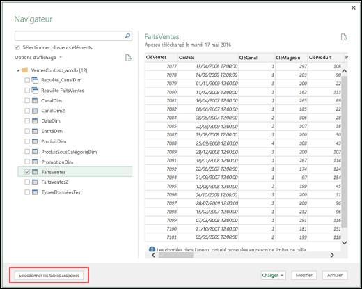 """Power Query - Connecteur Base de données Access amélioré - Nouveau bouton Sélectionner les tables associées pour """""""" dans la boîte de dialogue Navigateur"""