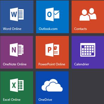 Écran d'accueil d'Office.com