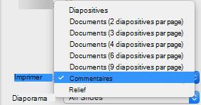 Dans la zone Imprimer, sélectionnez Notes