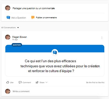 Capture d'écran montrant le choix d'un type de conversation Yammer