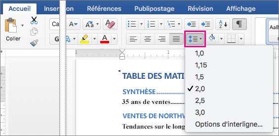 Sous l'onglet Accueil, l'option Interligne est mise en évidence avec la valeur 2.0 sélectionnée.