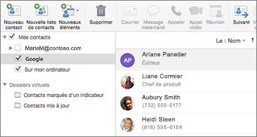 Liste de contacts montrant des contacts Google