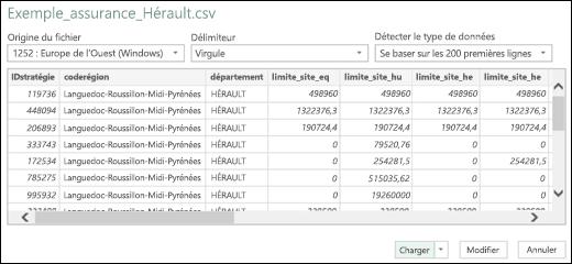 Excel Power BI - Boîte de dialogue Connecteur Texte/CSV amélioré