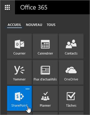 Lanceur d'applications avec SharePoint mis en évidence