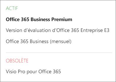 Page Abonnements du Centre d'administration Office365, qui affiche une liste de plusieurs abonnements regroupés par état.