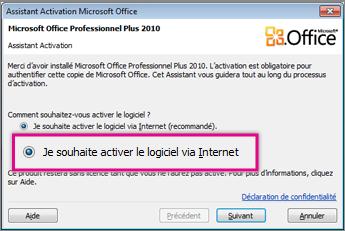 Activer le logiciel via Internet