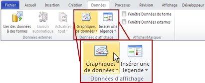 Groupe Données d'affichage sous l'onglet Données dans le ruban Visio2010.