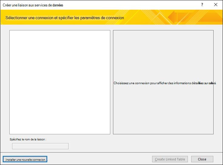 Installation d'une connexion de données de service Web