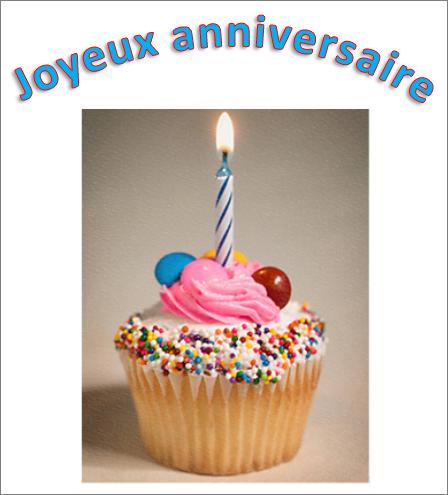 Exemple d'objet WordArt avec les mots «Joyeux anniversaire» et une image