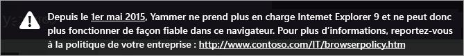 Exemple d'URL de stratégie de navigateur personnalisé dans la notification de navigateur obsolète