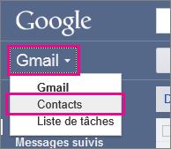 Google gmail - cliquez sur contacts