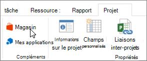 Capture d'écran d'une section de l'onglet projet du ruban avec un curseur en pointant sur le magasin. Sélectionnez Store pour accéder à Office Store et rechercher des compléments pour Project.