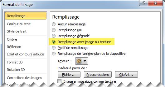 Boîte de dialogue Format de l'image