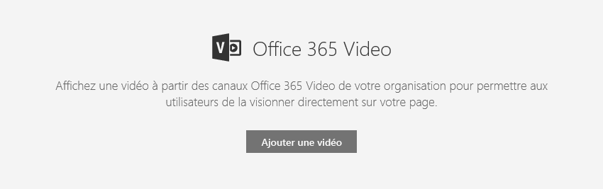 Capture d'écran de la boîte de dialogue d'ajout de vidéo Office365 dans SharePoint.