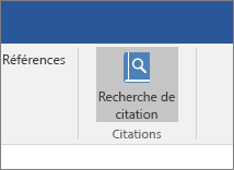 La capture d'écran montre une section du ruban Office dans laquelle la commande Search Citations (Rechercher des citations) s'affiche en surbrillance dans le complément Citations.