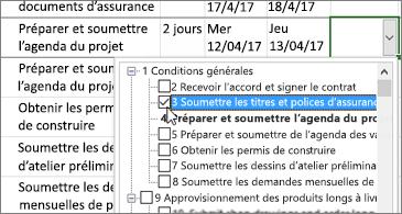 Plan de projet avec liste déroulante contenant des tâches