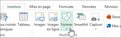 Bouton Insérer des formes dans Excel