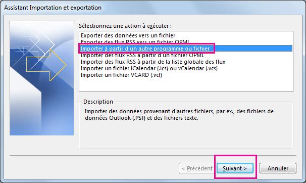 Choisissez d'importer les courriers électroniques à partir d'un autre programme ou fichier.
