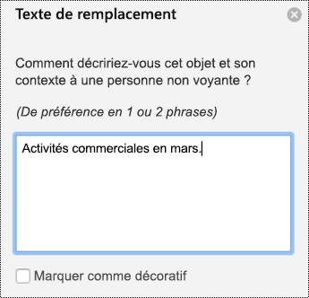 Volet texte de remplacement pour les graphiques dans PowerPoint pour Mac dans Office 365