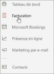 Capture d'écran: Cliquez sur l'icône pour accéder au tableau de bord de Facturation