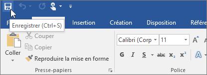 L'icône Enregistrer est affichée dans la barre d'outils Accès rapide