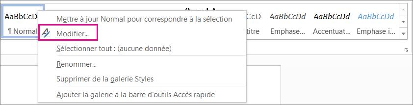 Word - Modifier le style
