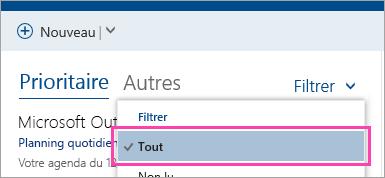 Capture d'écran du bouton filtre avec toute la sélection