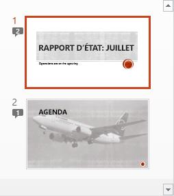 Les symboles avec des chiffres indiquent la présence de commentaires sur les diapositives.