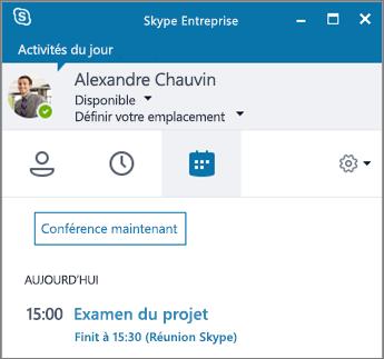Capture d'écran de l'onglet Réunions de la fenêtre Skype Entreprise.