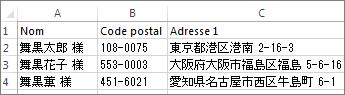 Liste d'adresses avec adresses japonaises valides