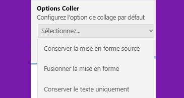 Liste des options de collage