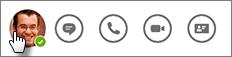 Appuyer sur l'image d'un contact pour lui envoyer un message instantané, l'appeler ou afficher sa carte de visite