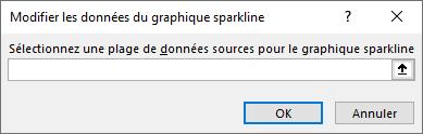 Entrez une plage de données sources dans la boîte de dialogue Modifier les données de graphique sparkline.