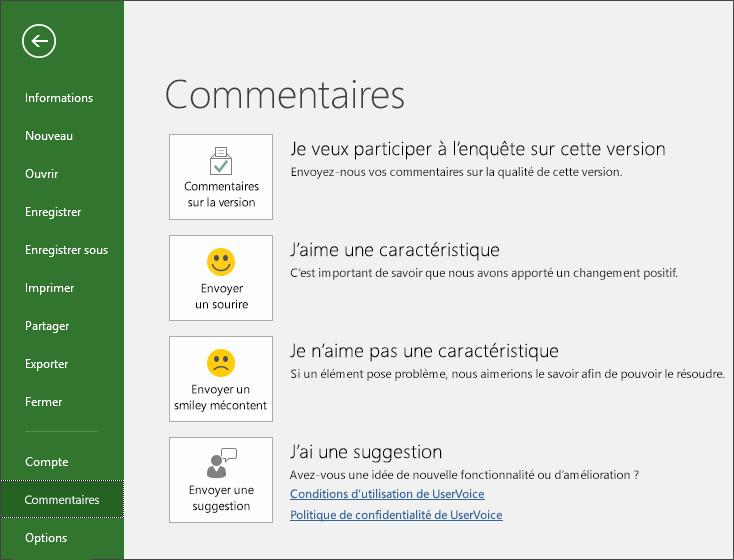 Cliquez sur Fichier > Votre avis pour transmettre des avis ou des suggestions concernant Microsoft Word