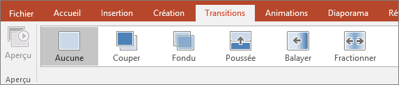 Onglet Transitions du ruban de PowerPoint
