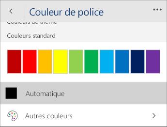 Capture d'écran du menu Couleur de police avec l'option Automatique sélectionnée