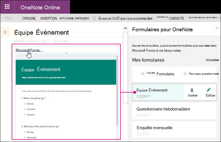 Insérer un formulaire à partir de la liste des formulaires dans les formulaires pour panneau de configuration de OneNote