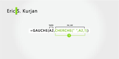 Formule pour séparer un prénom d'un nom, et une initiale au milieu