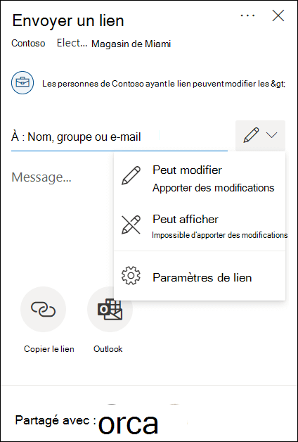 Options d'autorisation de partage OneDrive avec les options de modification ou d'affichage seul.