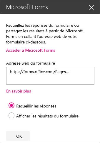 Panneau du composant WebPart Microsoft Forms pour un formulaire existant.